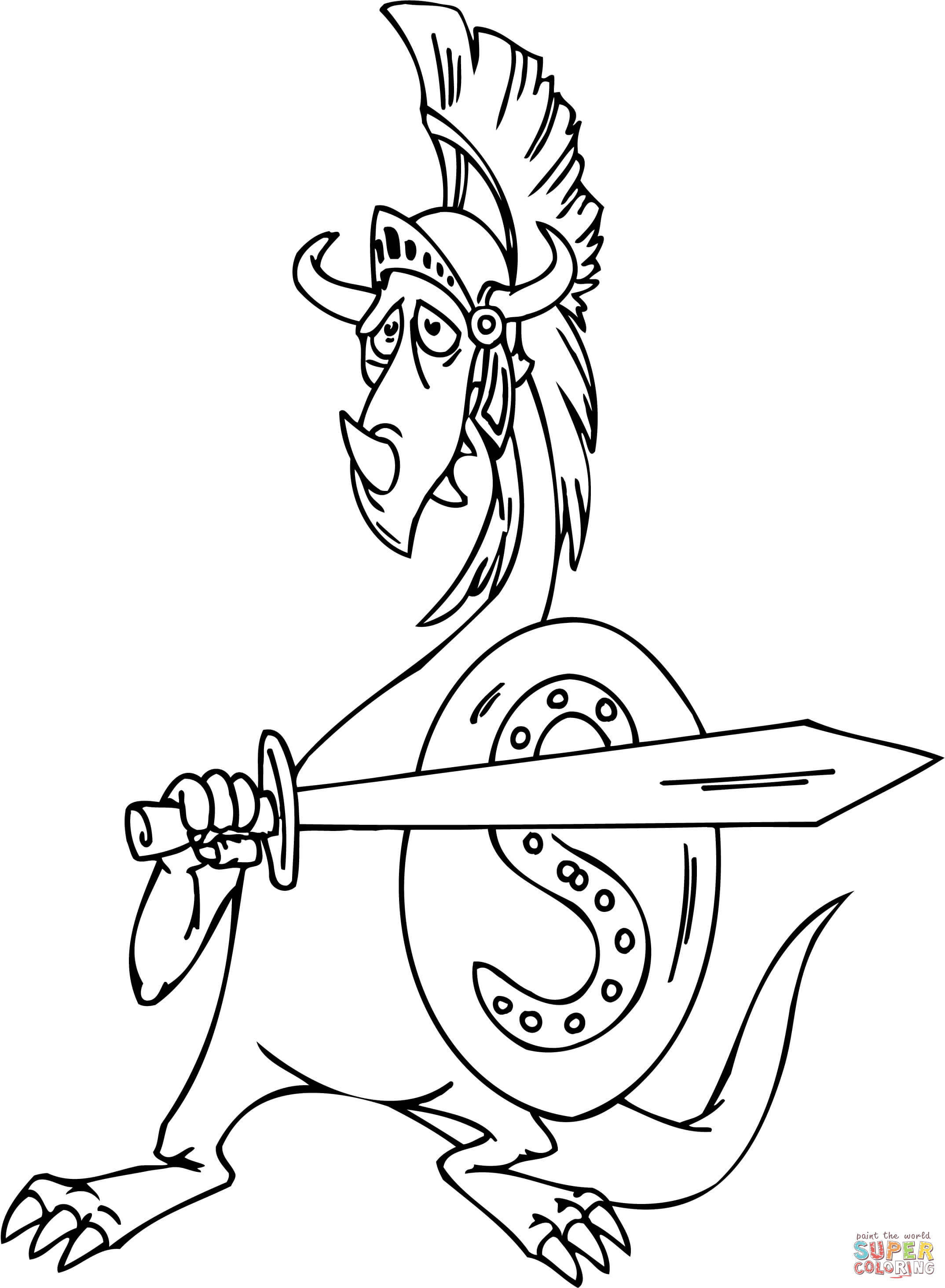 Dragon As A Gladiator Coloring Page