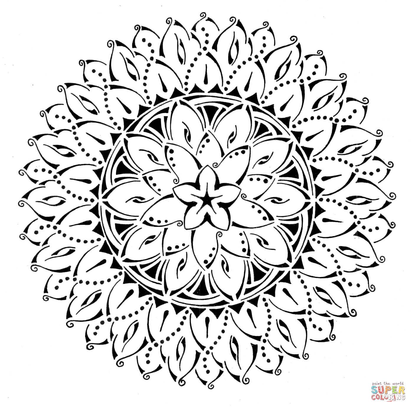 Floral Tribal Mandala Coloring Page