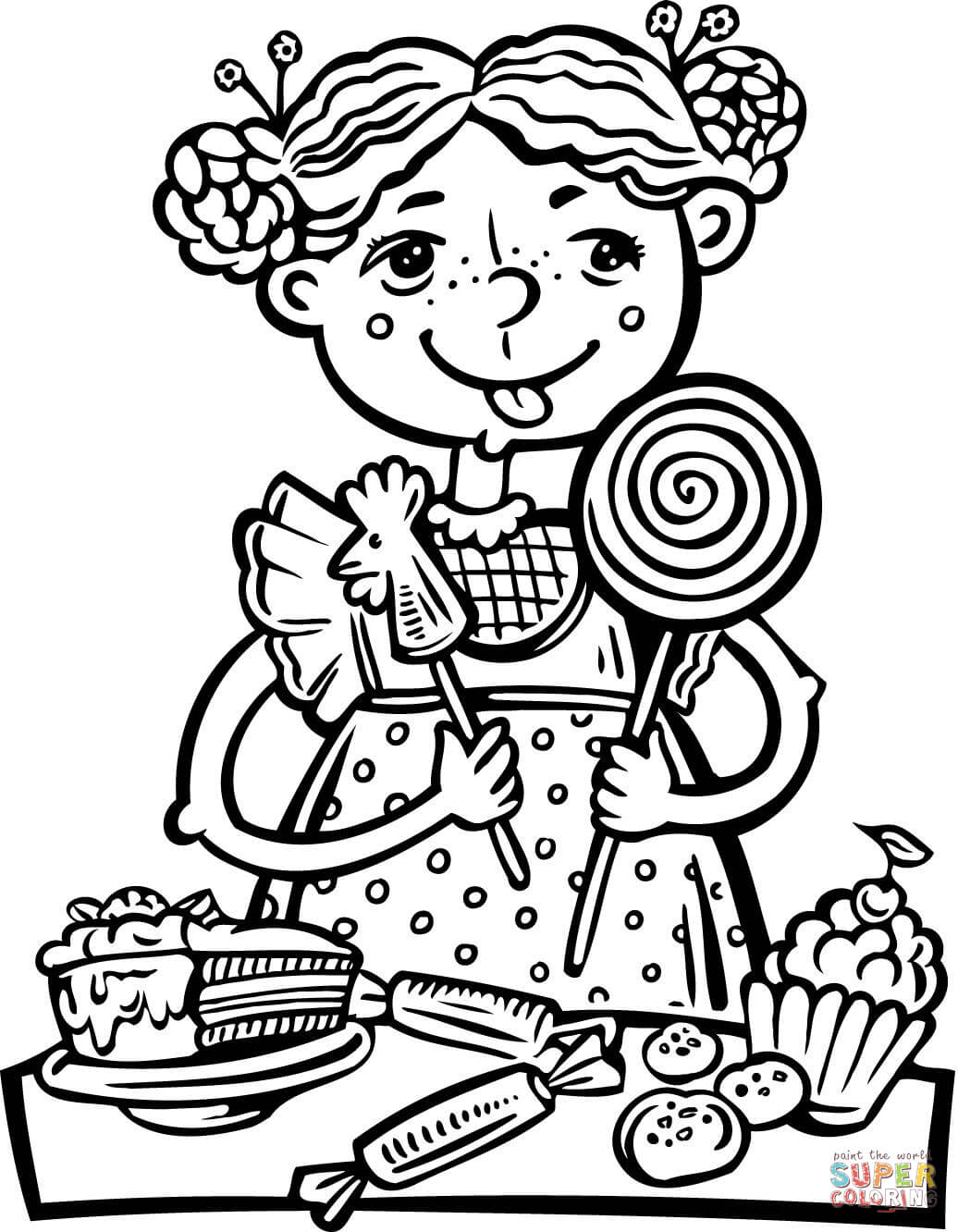 Girl Eating A Lot Of Candy And Snacks Coloring Page