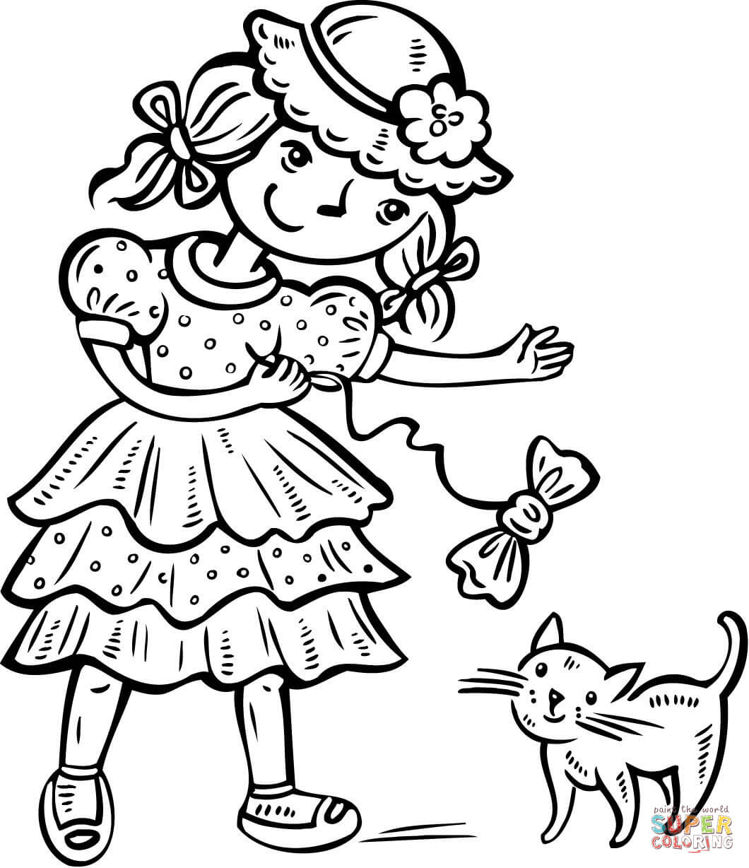 Girl Playing With Her Kitten Coloring Page