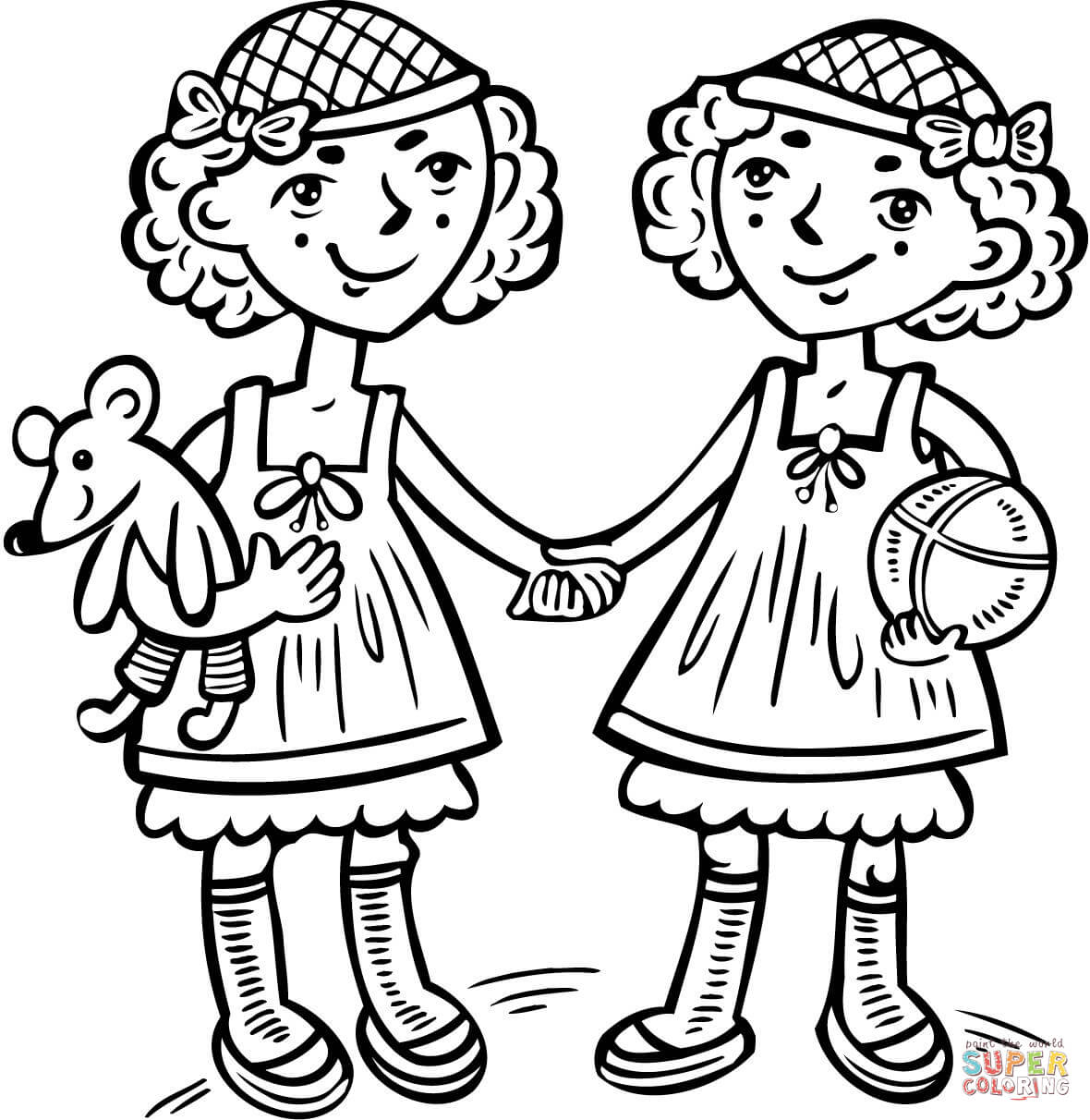 Girls Twins Coloring Page