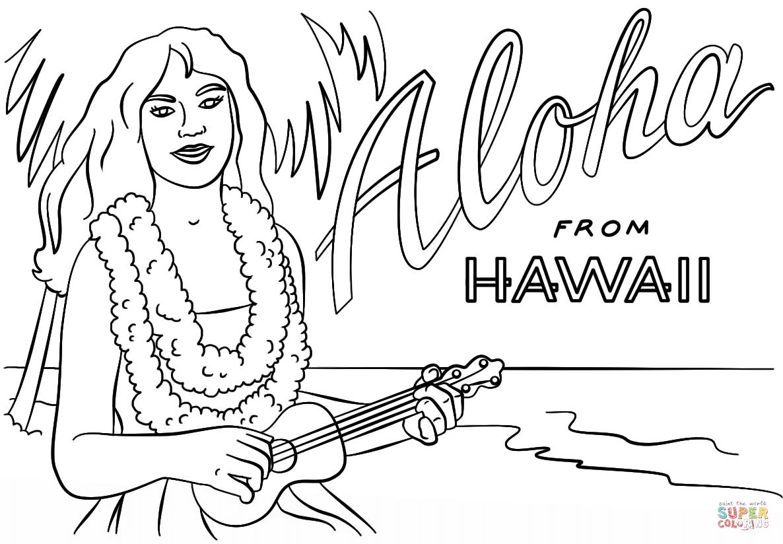 Hawaiian Girl With Lei And Ukulele Coloring Page