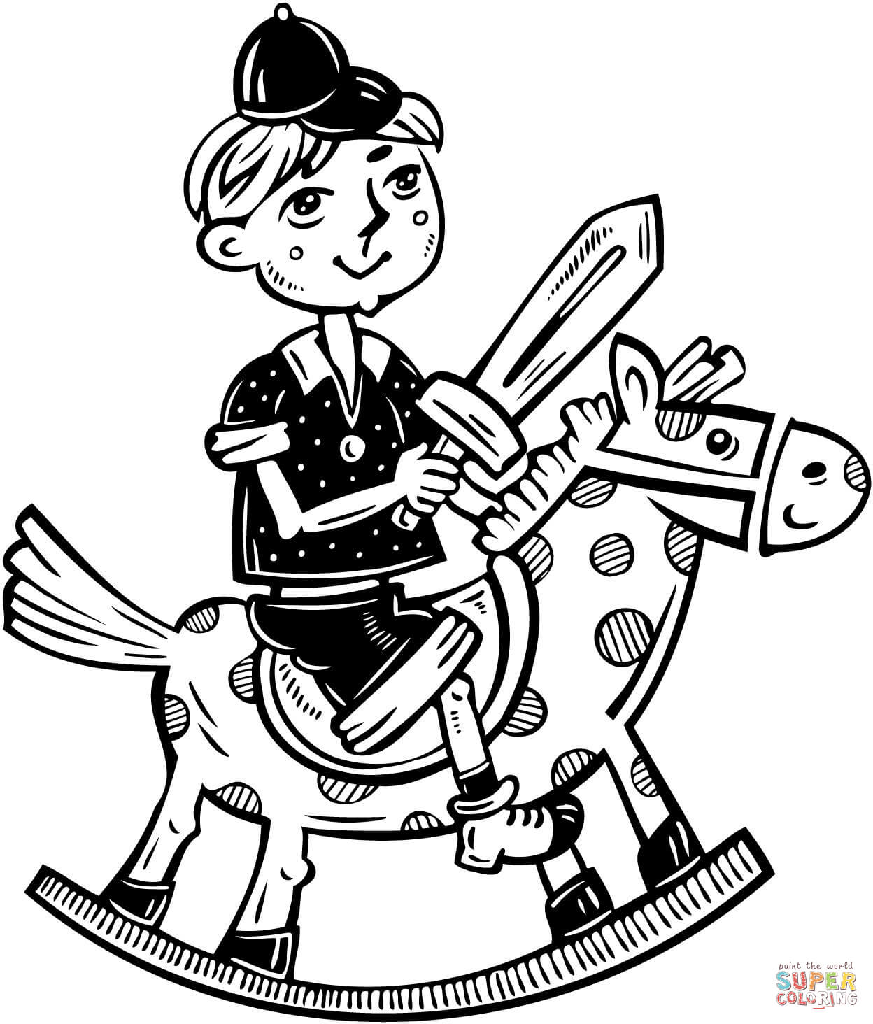 Little Boy Playing On His Rocking Horse Coloring Page