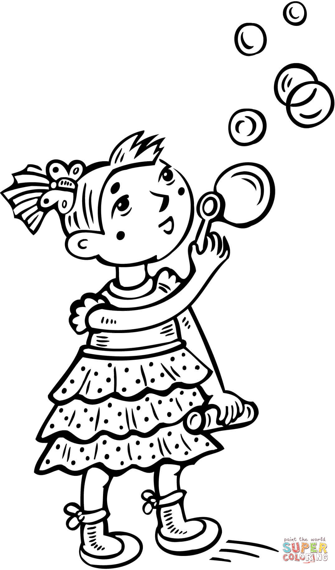 Little Girl Blowing Bubbles Coloring Page