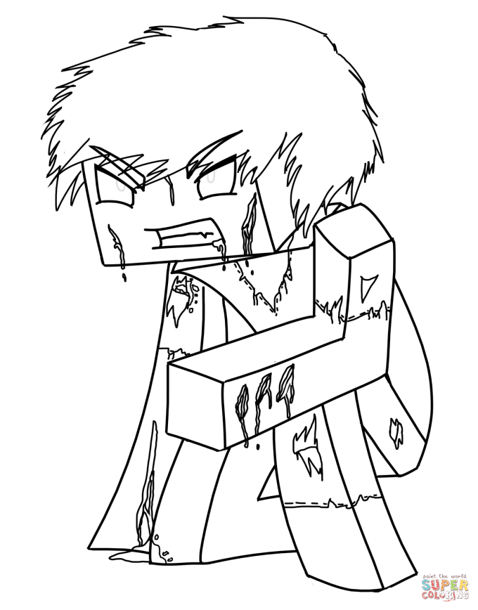 Minecraft Herobrine Coloring Page Free Printable Pages