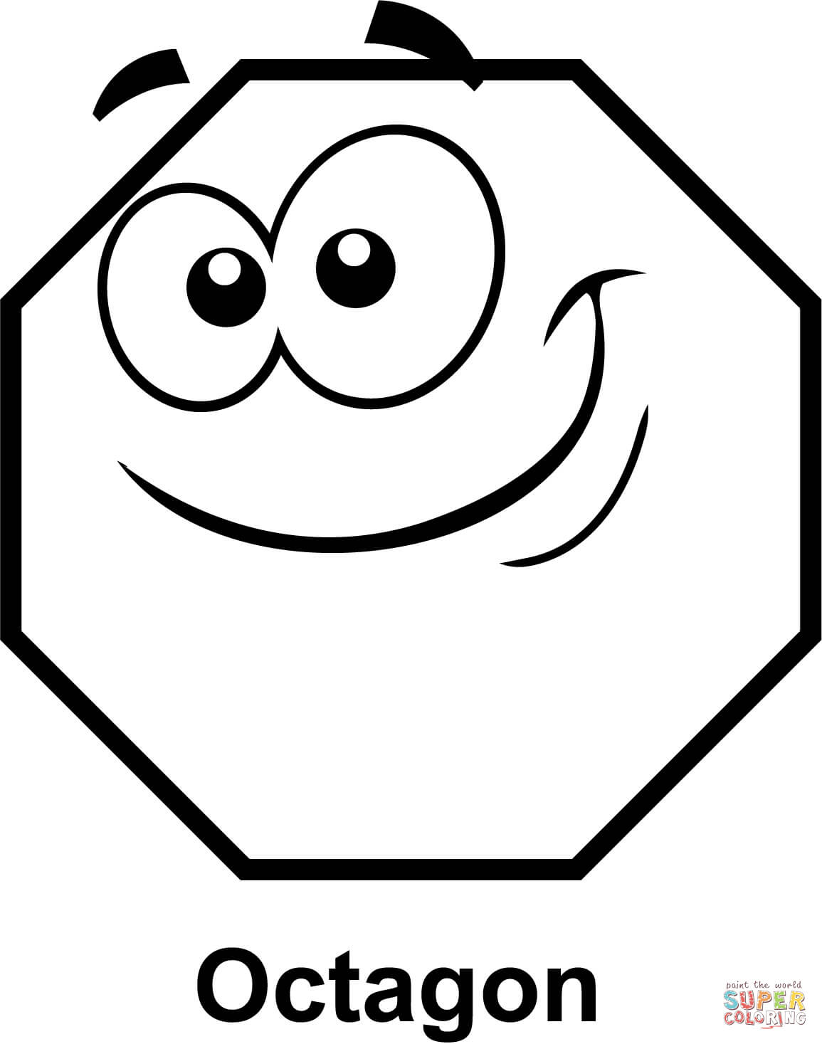 Octagon With Cartoon Face Coloring Page