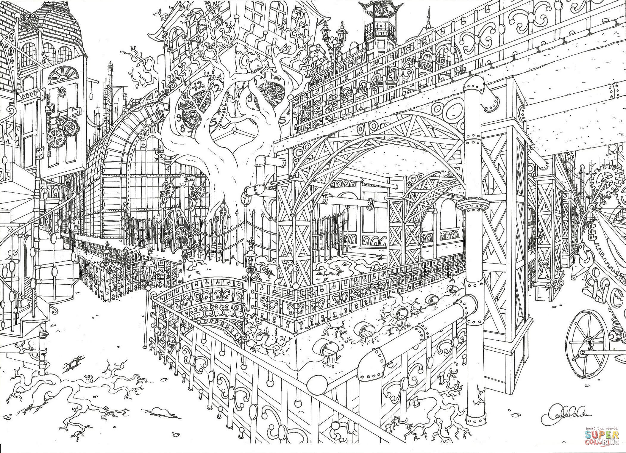 Steampunk City Coloring Page