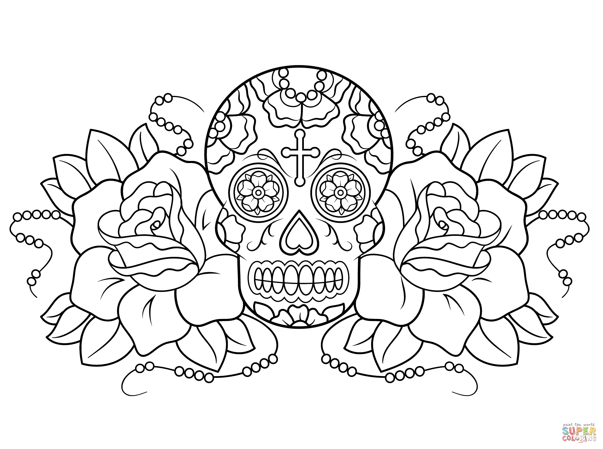 Sugar Skull And Roses Coloring Page