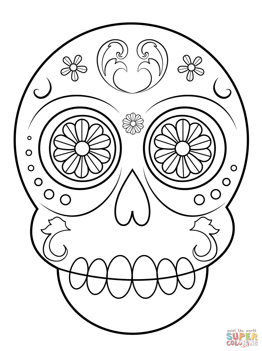 Simple Sugar Skull coloring page | Free Printable Coloring ...