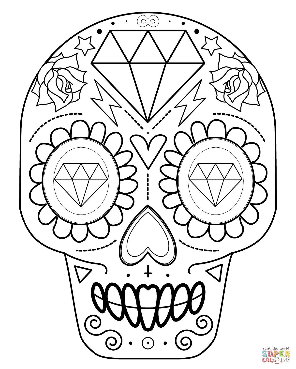 Sugar Skull With Diamonds Coloring Page