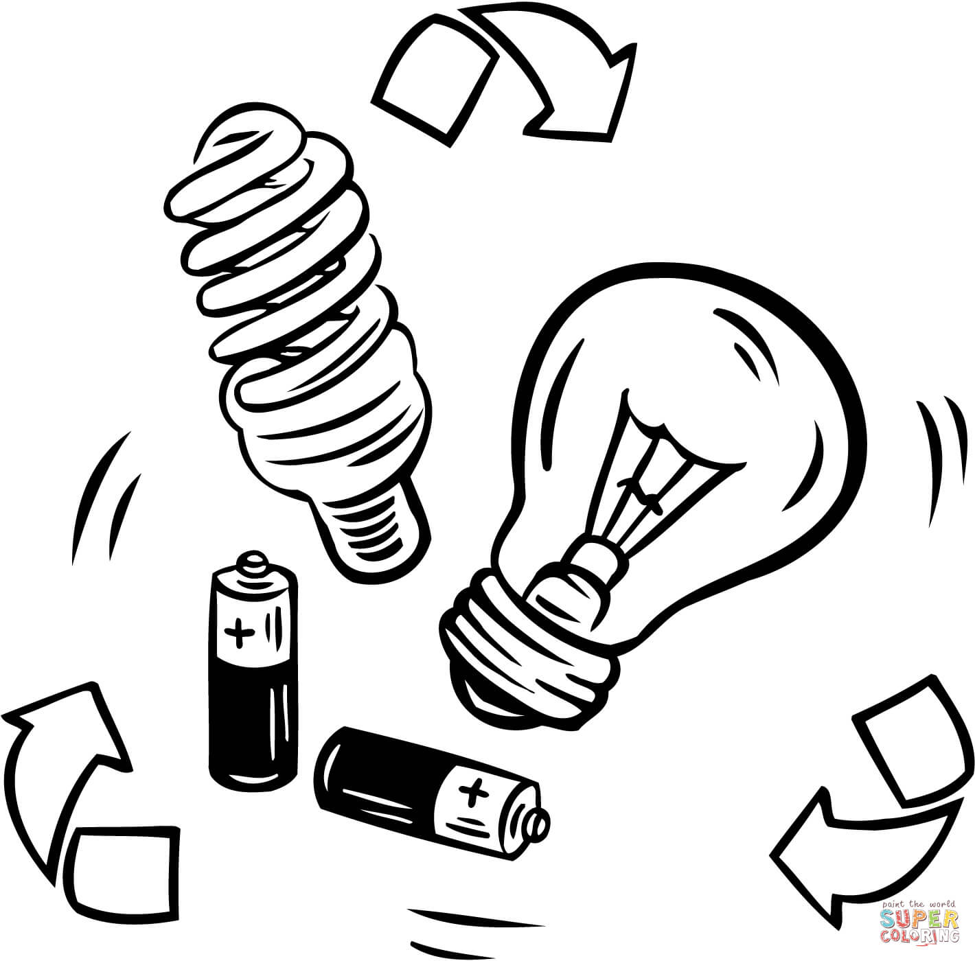 Battery And Bulb Recycling Coloring Page