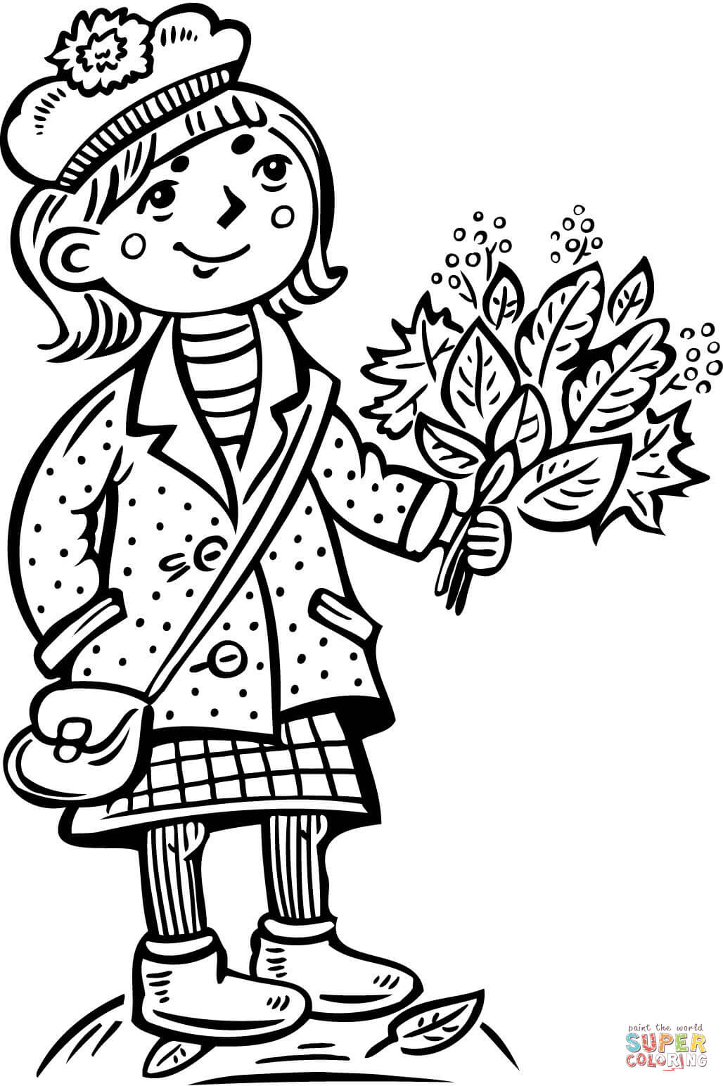 Teenage Girl Holding A Bouquet Of Leafs Coloring Page