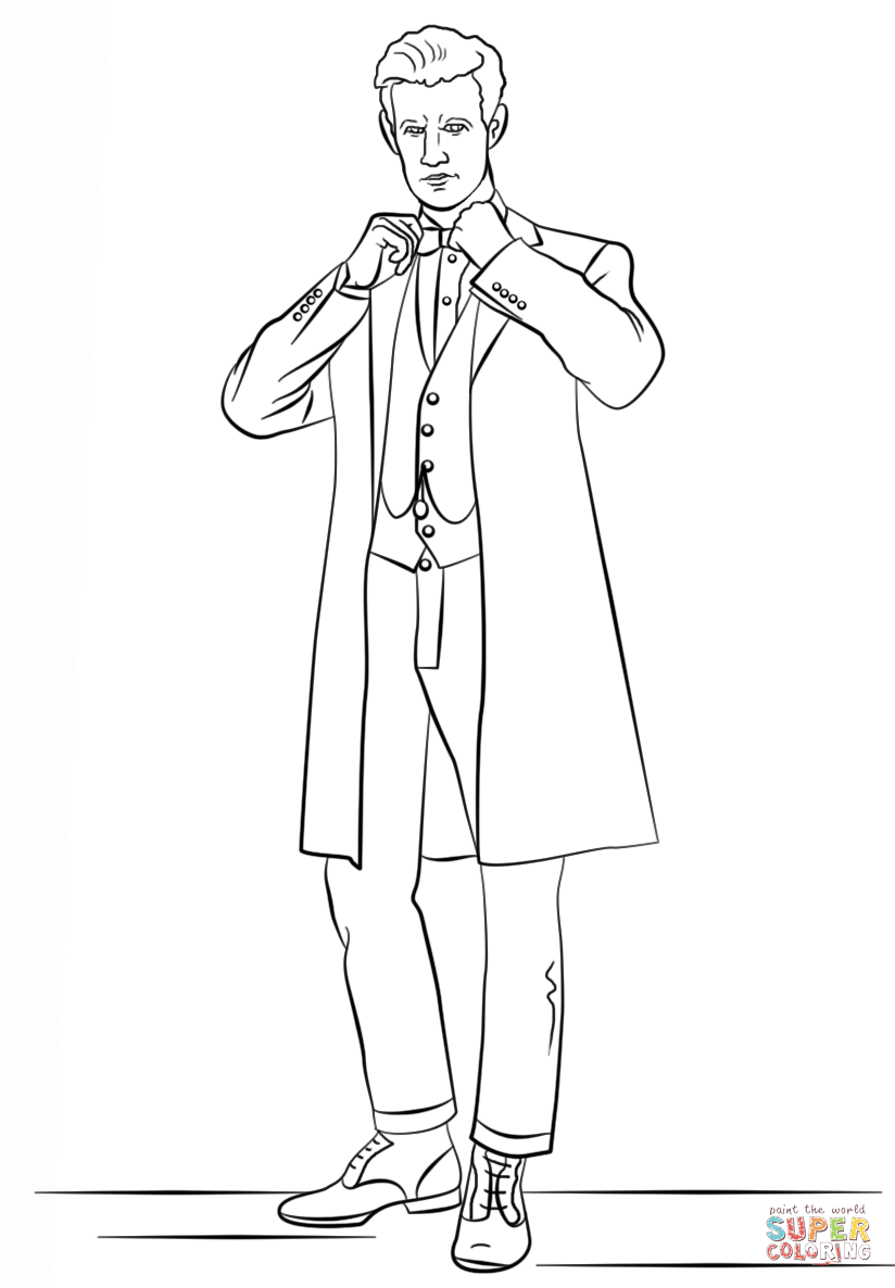 The Eleventh Doctor From Doctor Who Coloring Page Free Printable