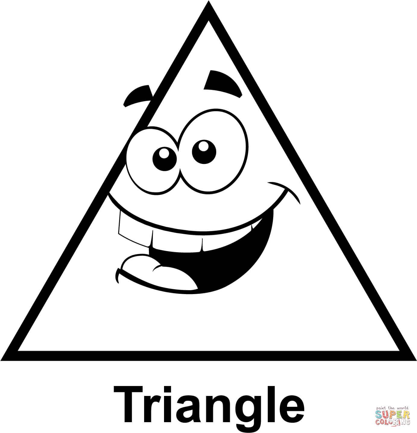 Ausmalbild Dreieck Mit Cartoon Gesicht