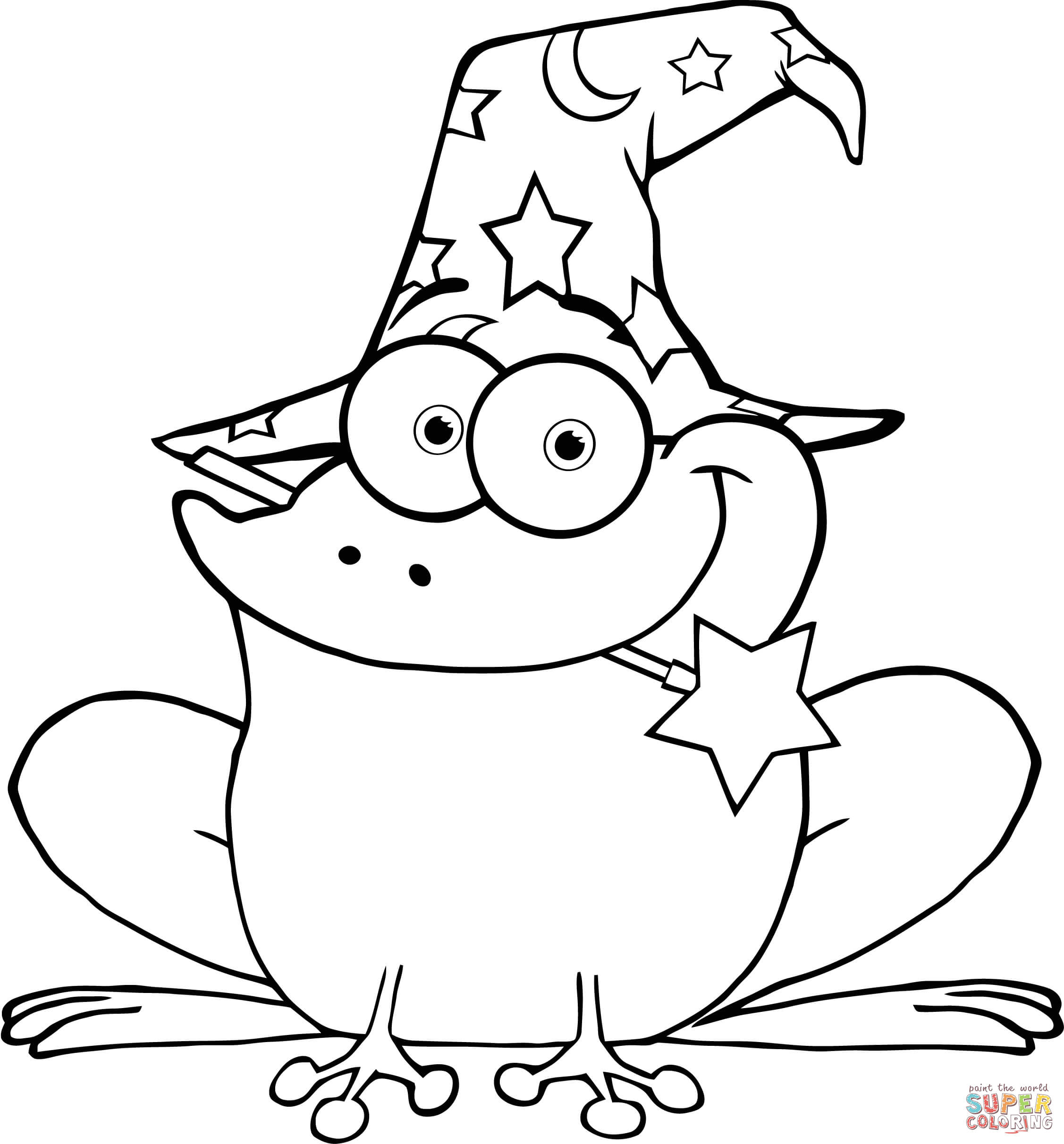 Wizard Frog With A Magic Wand In Mouth Coloring Page