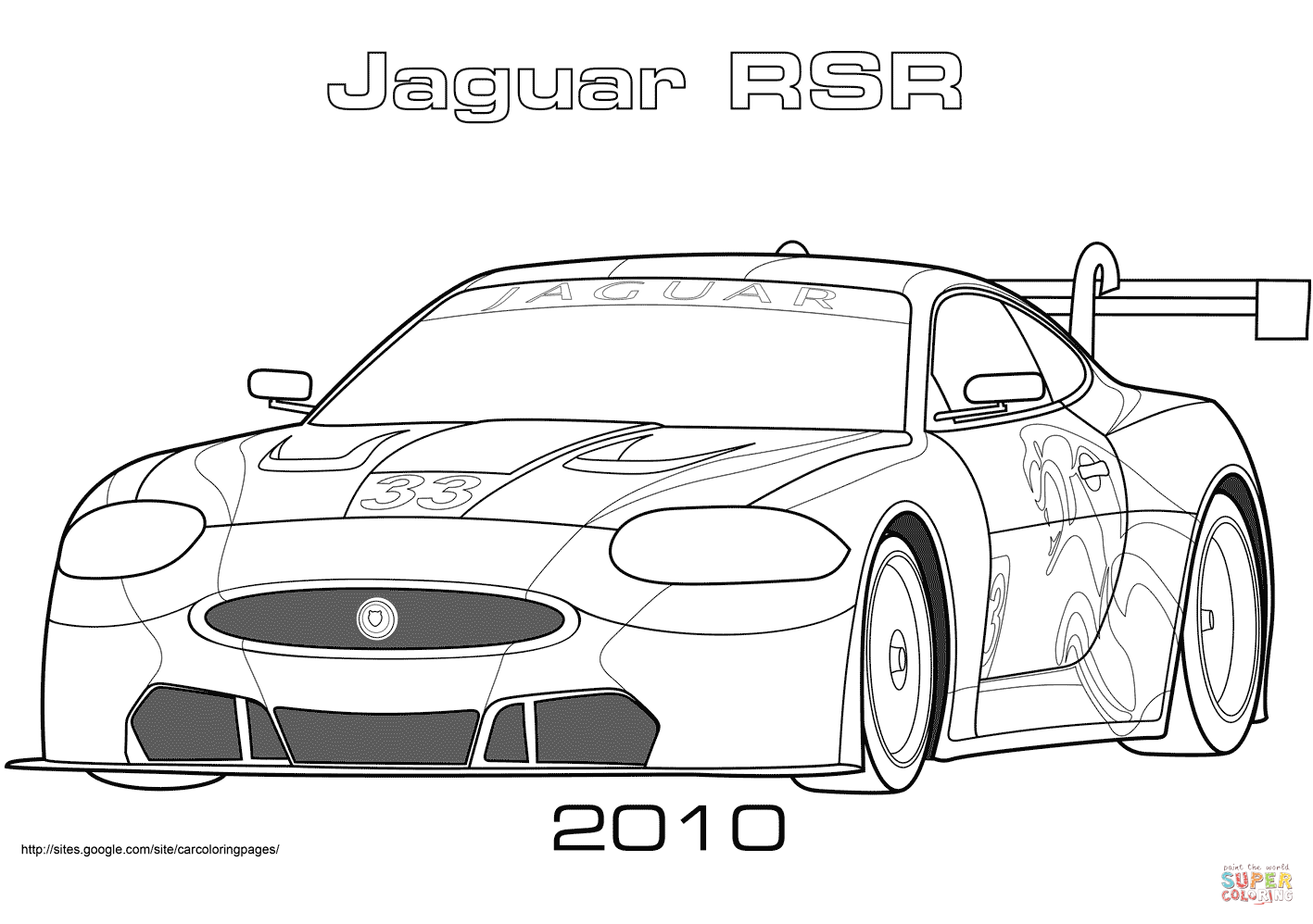 2010 Rsr Jaguar Xkr Gt2 Coloring Page Free Printable Coloring Pages