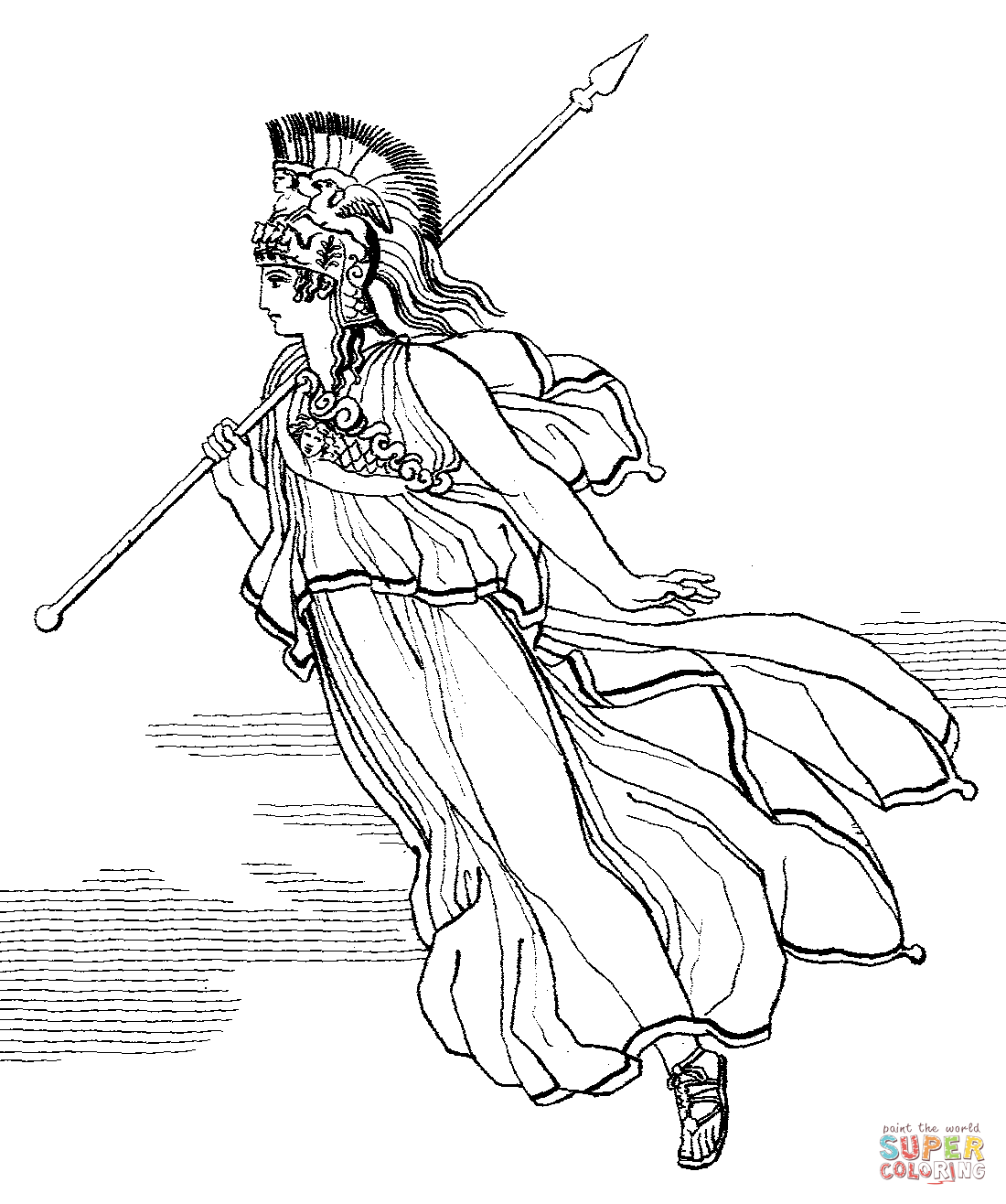 Athena With Spear Coloring Page
