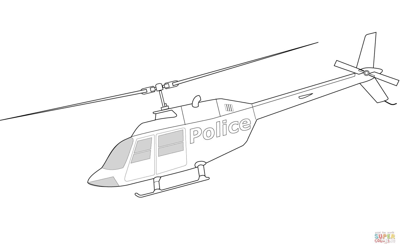 Ausmalbild Bell 206a Polizeihubschrauber
