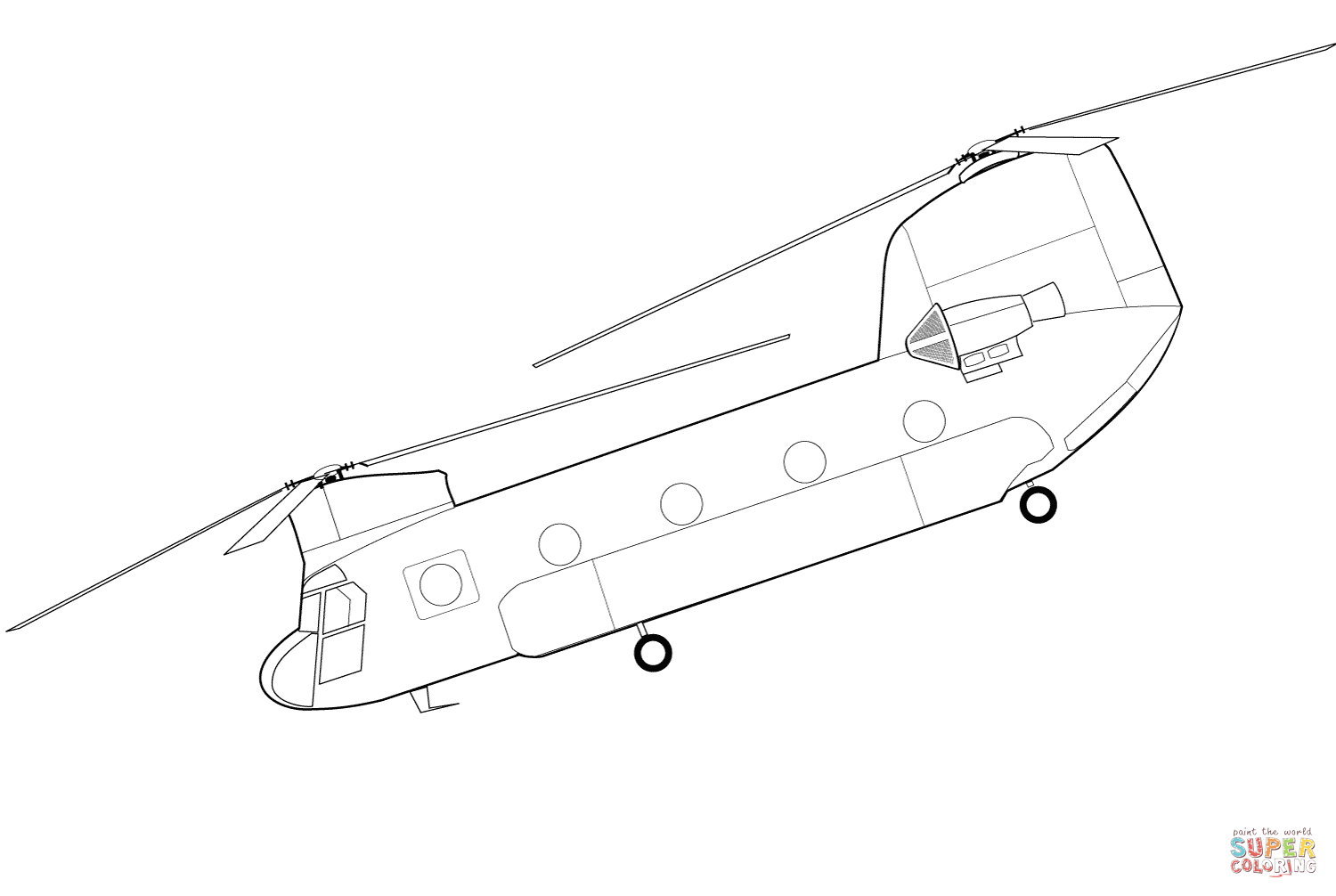 Boeing Ch 47 Chinook Helicopter Coloring Page