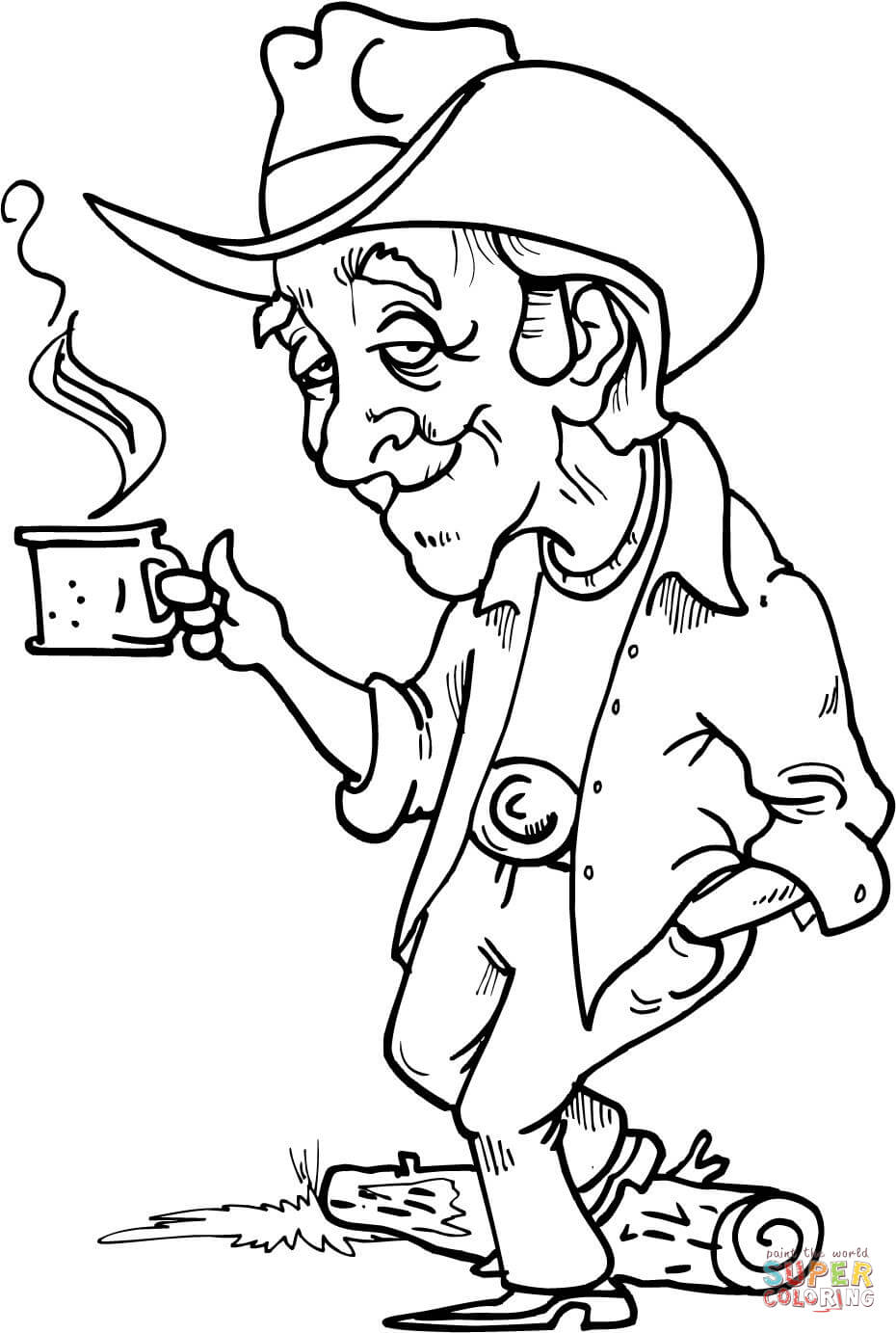 Cowboy Having A Hot Cup Of Coffee Coloring Page Free
