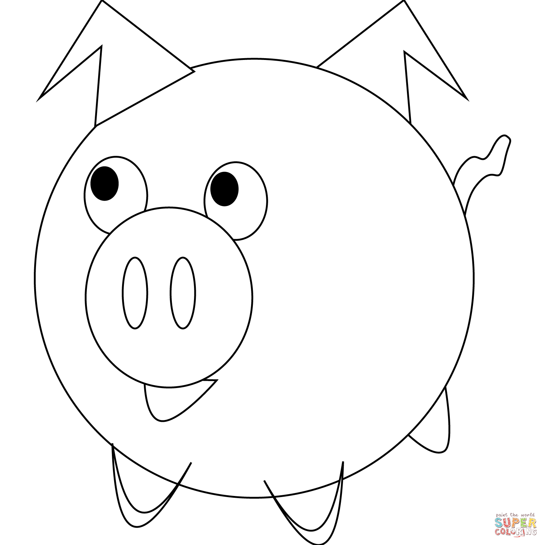 Cute Cartoon Pig Coloring Page