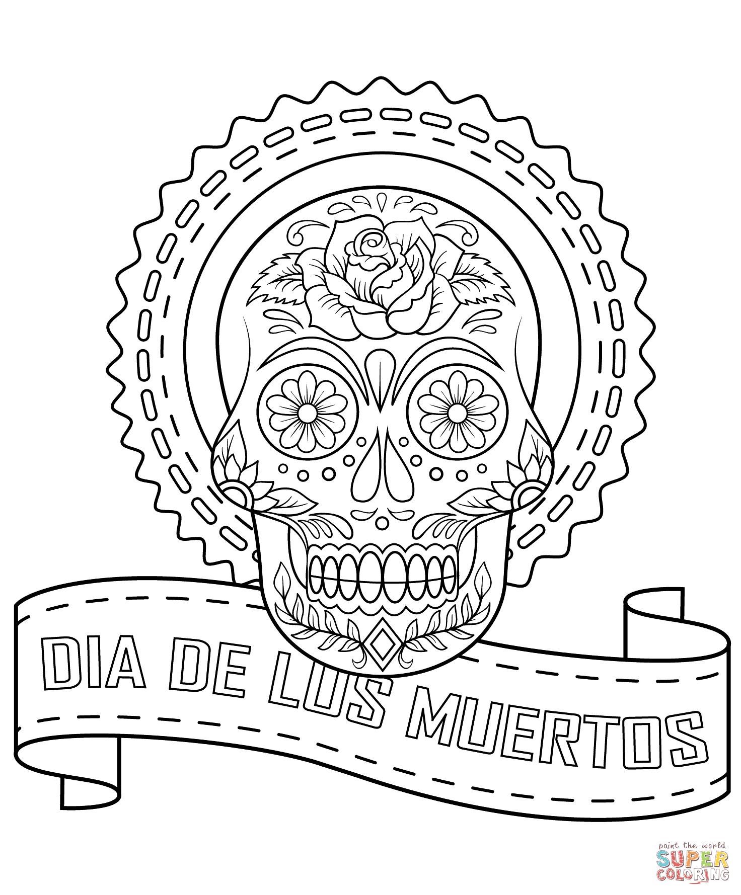 Dia De Los Muertos Sugar Skull Coloring Page