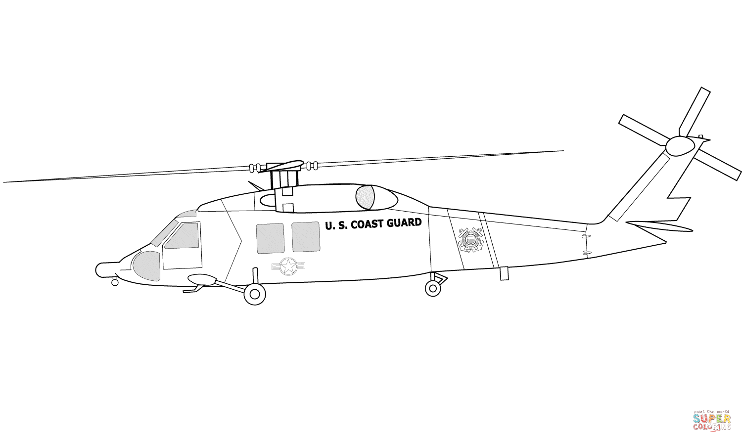 Hh 60j Us Coast Guard Helicopter Coloring Page Free Printable