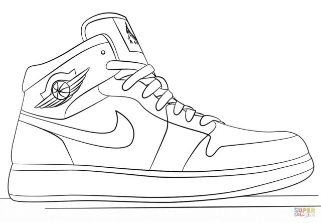 Nike Jordan Sneakers coloring page  Free Printable Coloring Pages