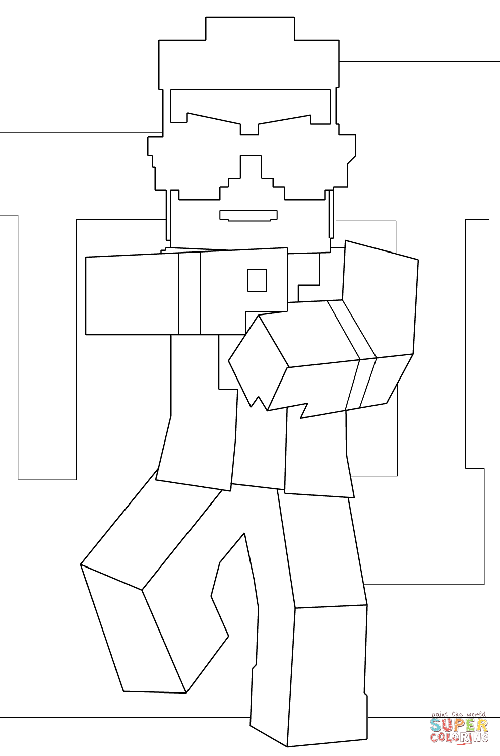 Minecraft Gangnam Style Coloring Page Free Printable