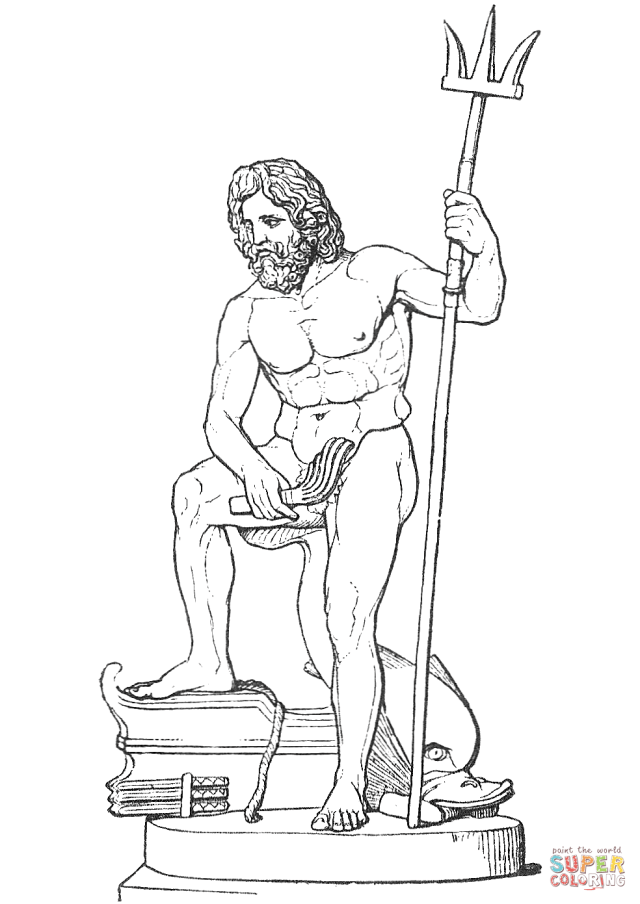 Poseidon with Trident coloring page  Free Printable Coloring Pages