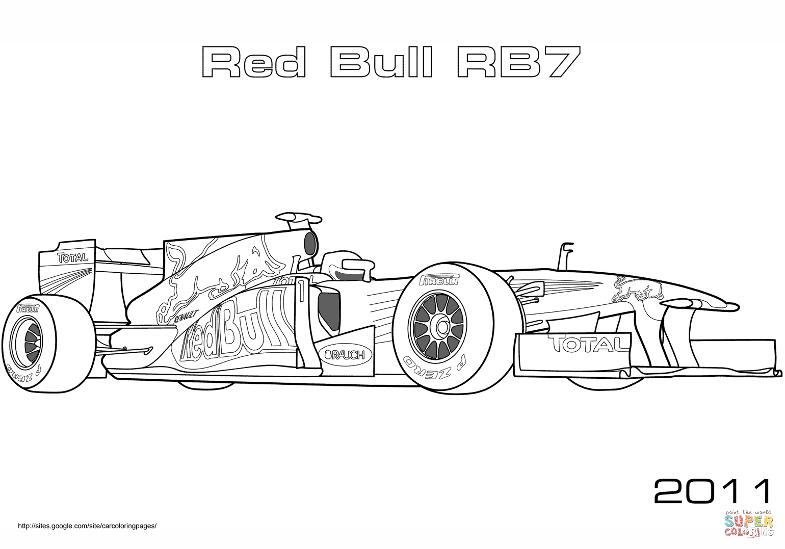 Red Bull Rb7 Formula 1 Racing Car Coloring Page