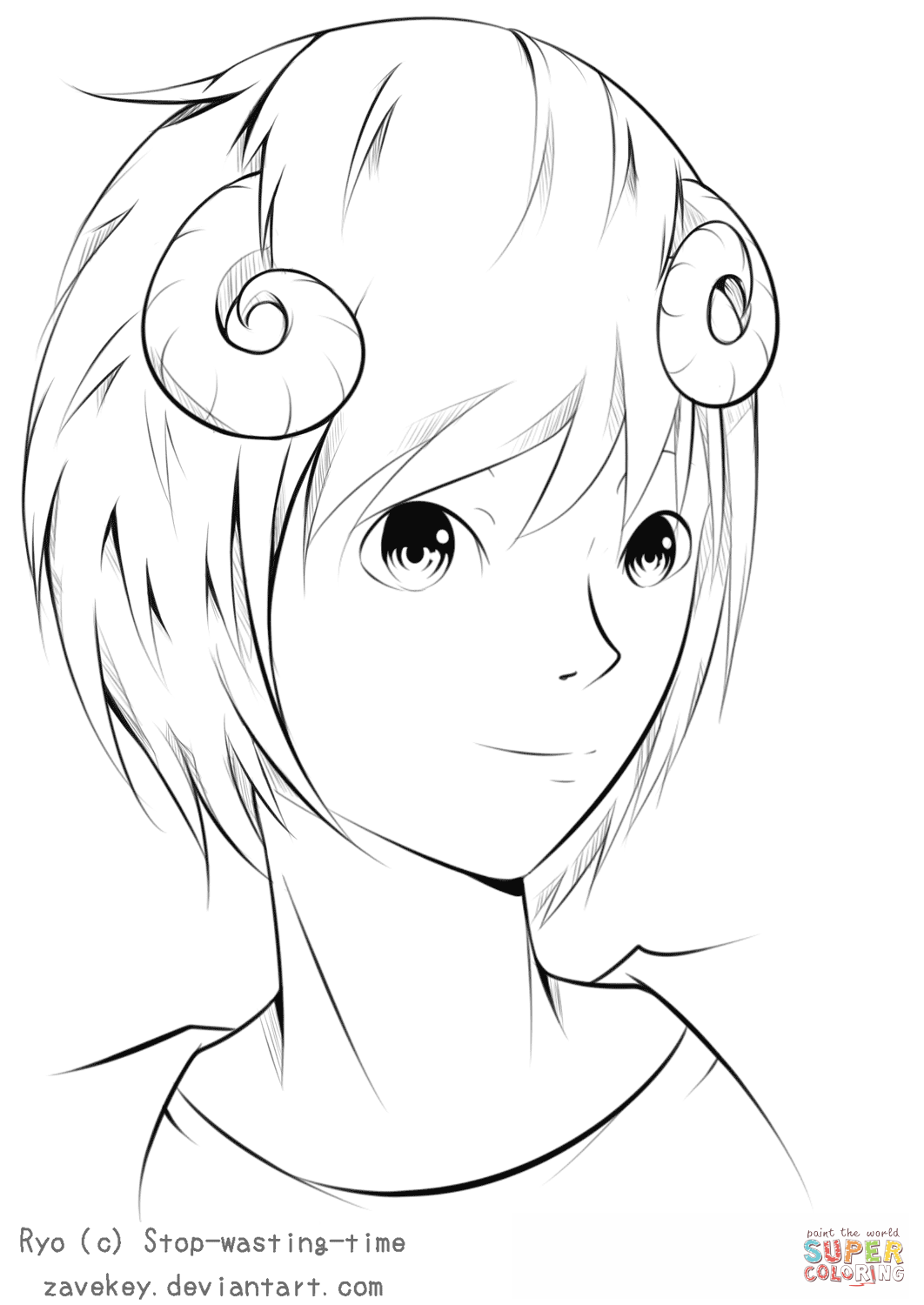 Ryo Anime Boy By ZaveKey Coloring Page Free Printable
