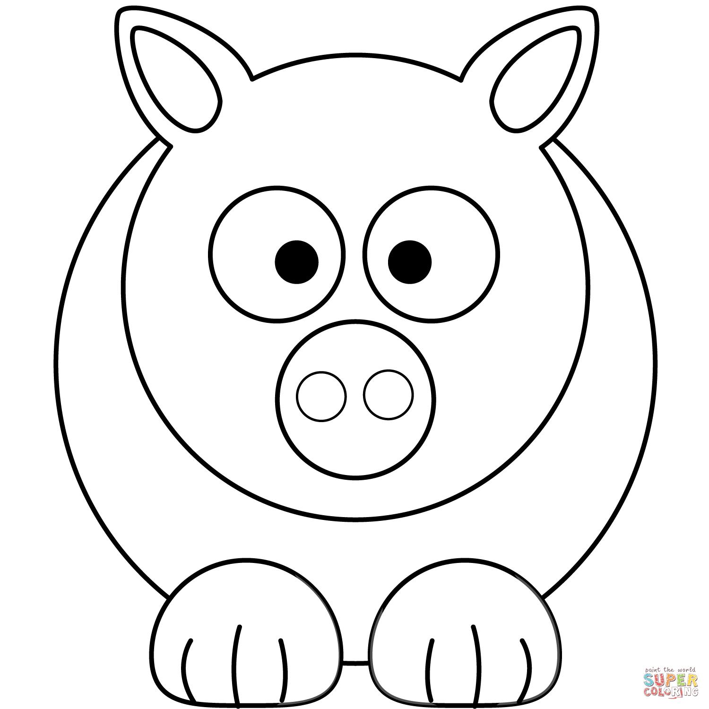 Simple Cartoon Pig Coloring Page