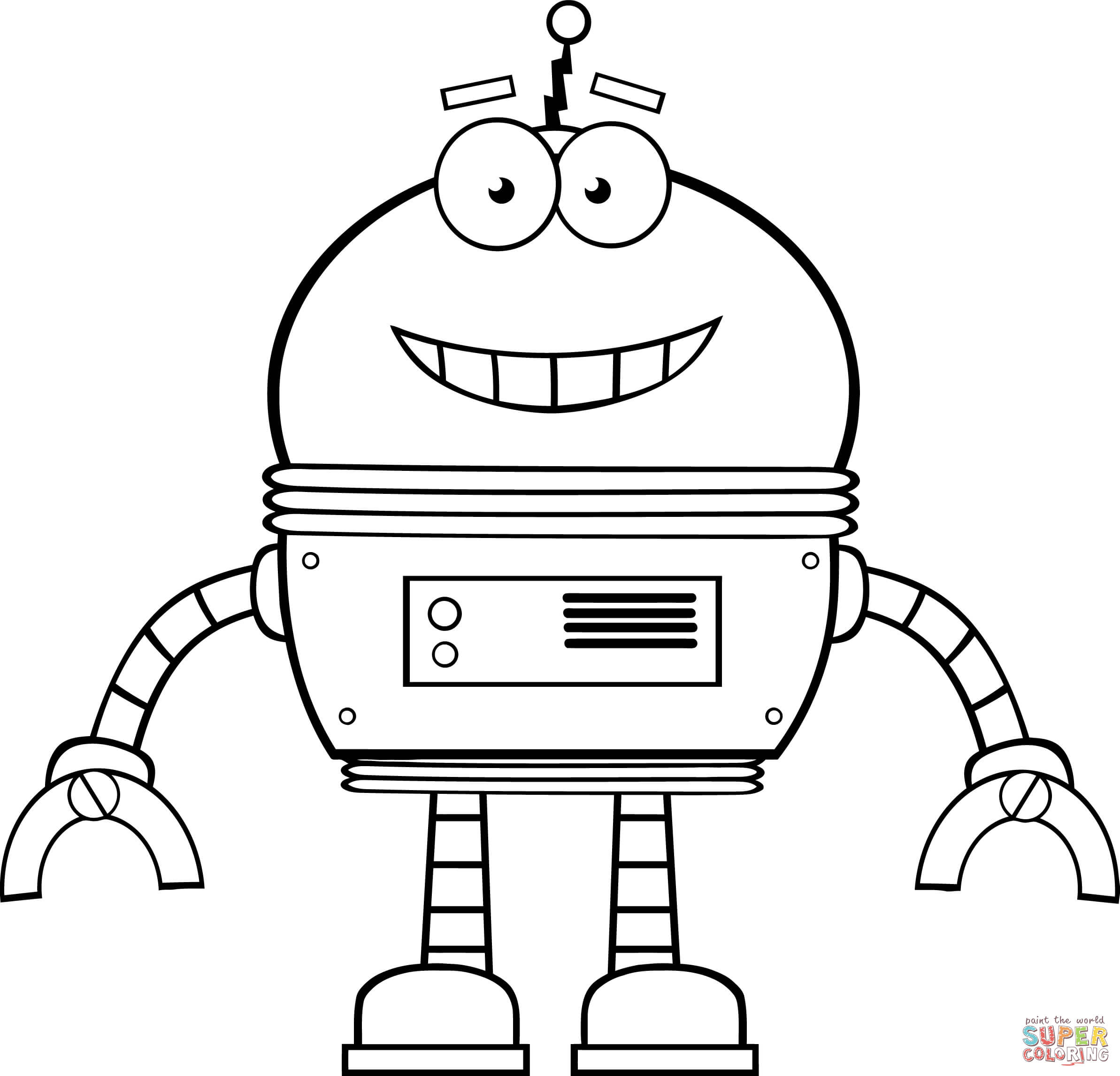 Smiling Robot Coloring Page Free Printable Coloring Pages