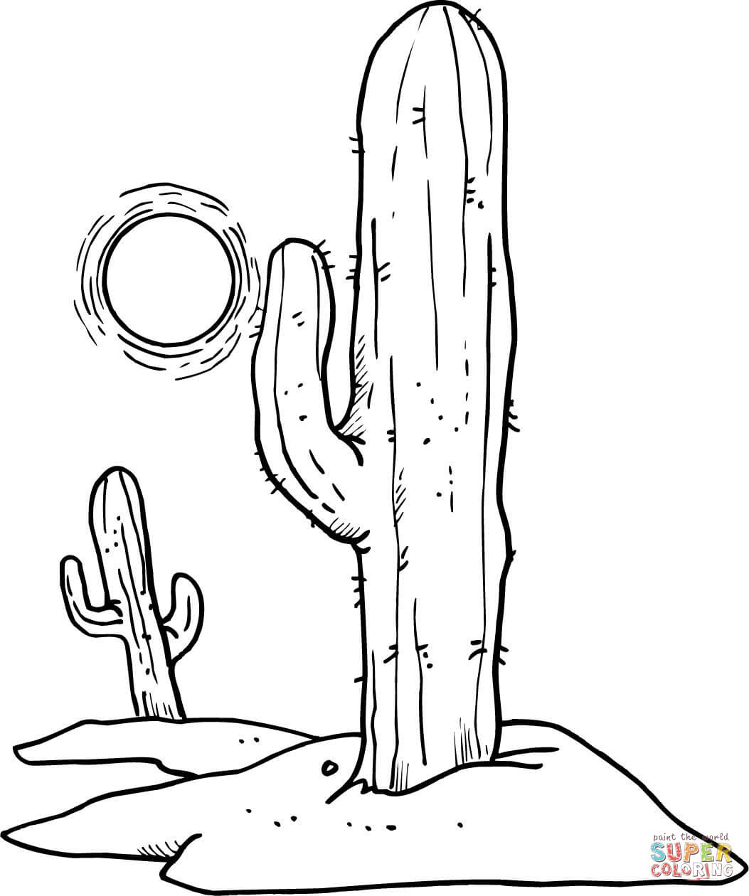 Sun Over Desert Cactuses Coloring Page