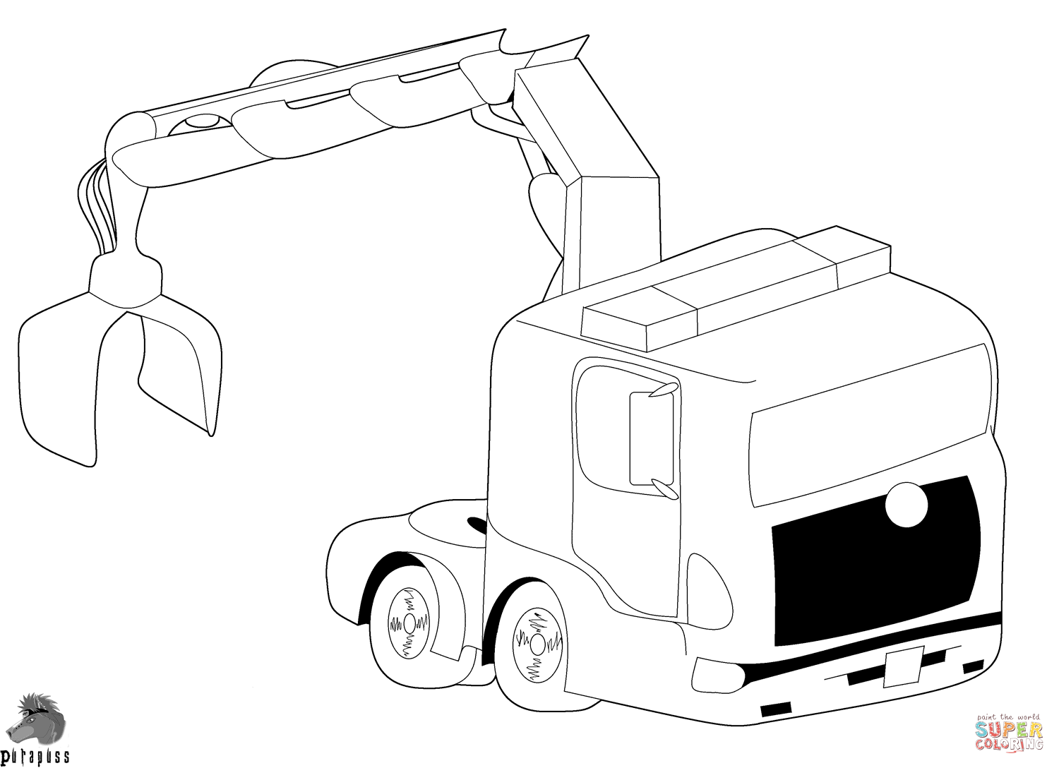 Truck With Crane Coloring Page