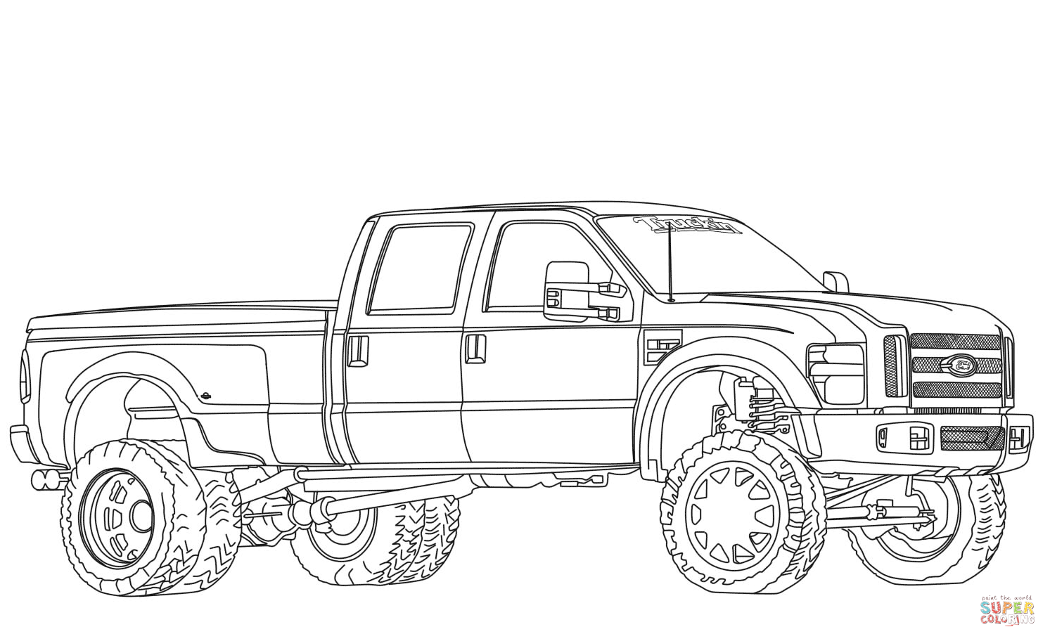 Ford F350 Dually Lifted Coloring Page
