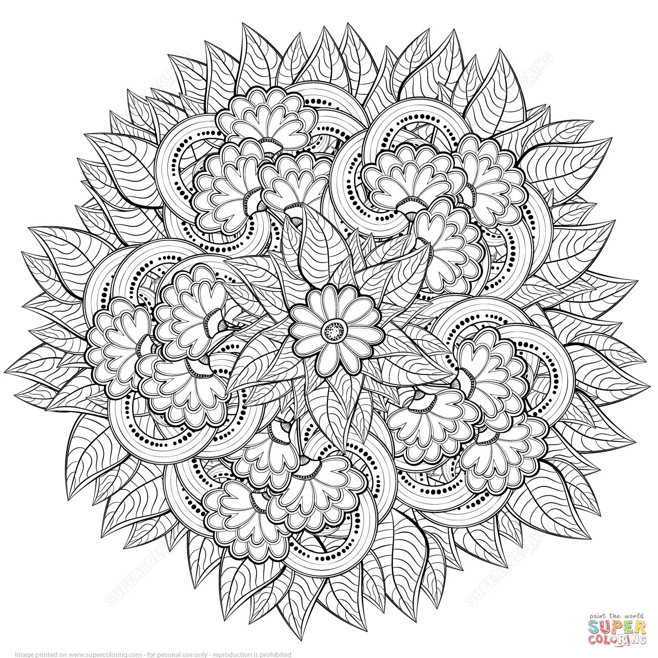 Abstract Flowers Zentangle Coloring Page