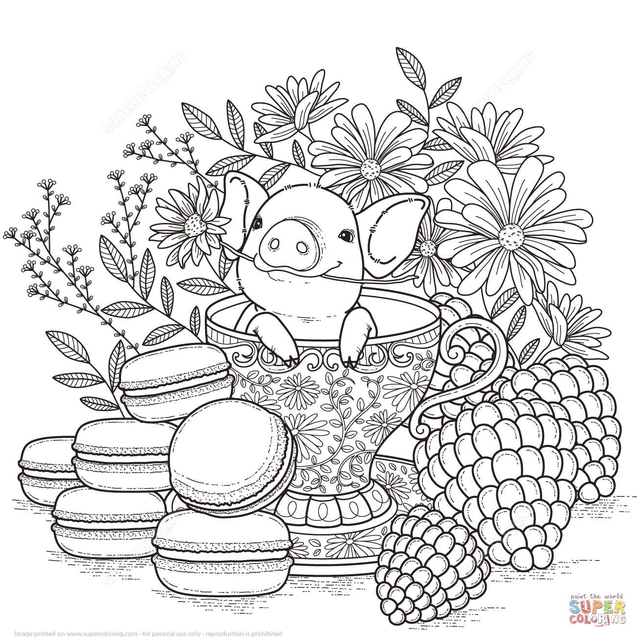 Adorable Little Pig Coloring Page