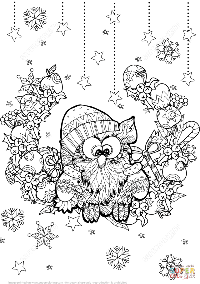 Christmas Owl Zentangle coloring page  Free Printable Coloring Pages