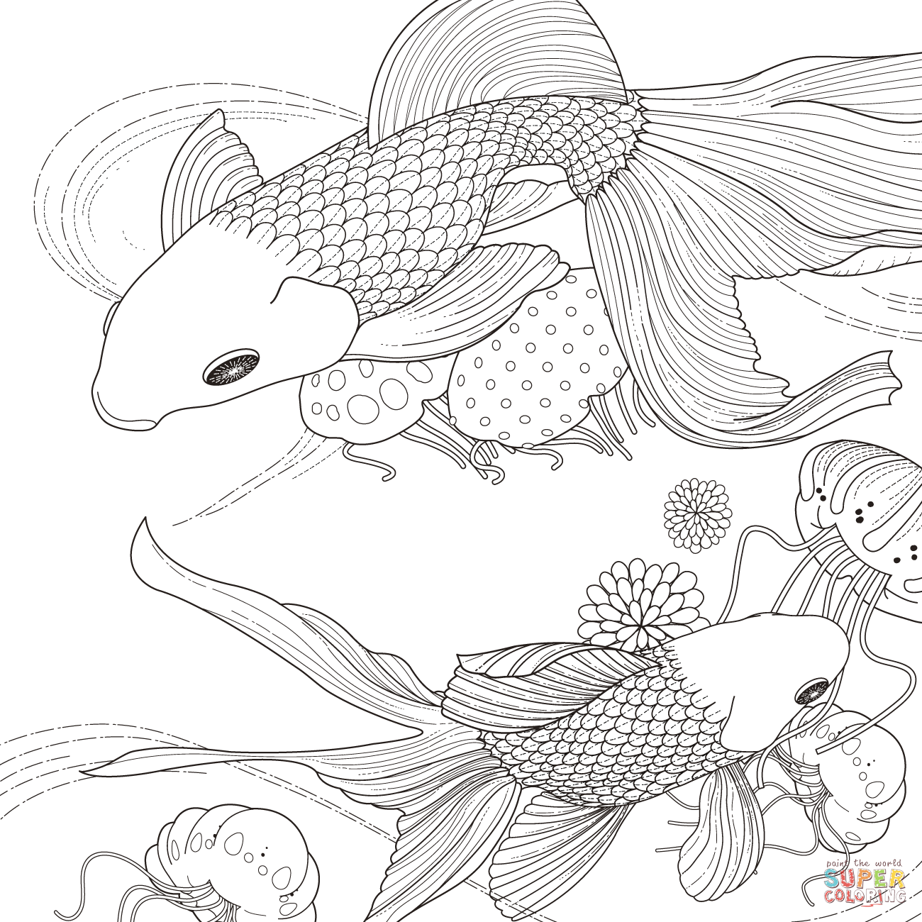 Golden Fish Coloring Page