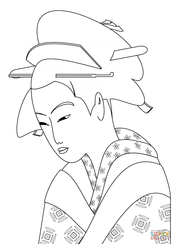 Japanese Woman Portrait Coloring Page