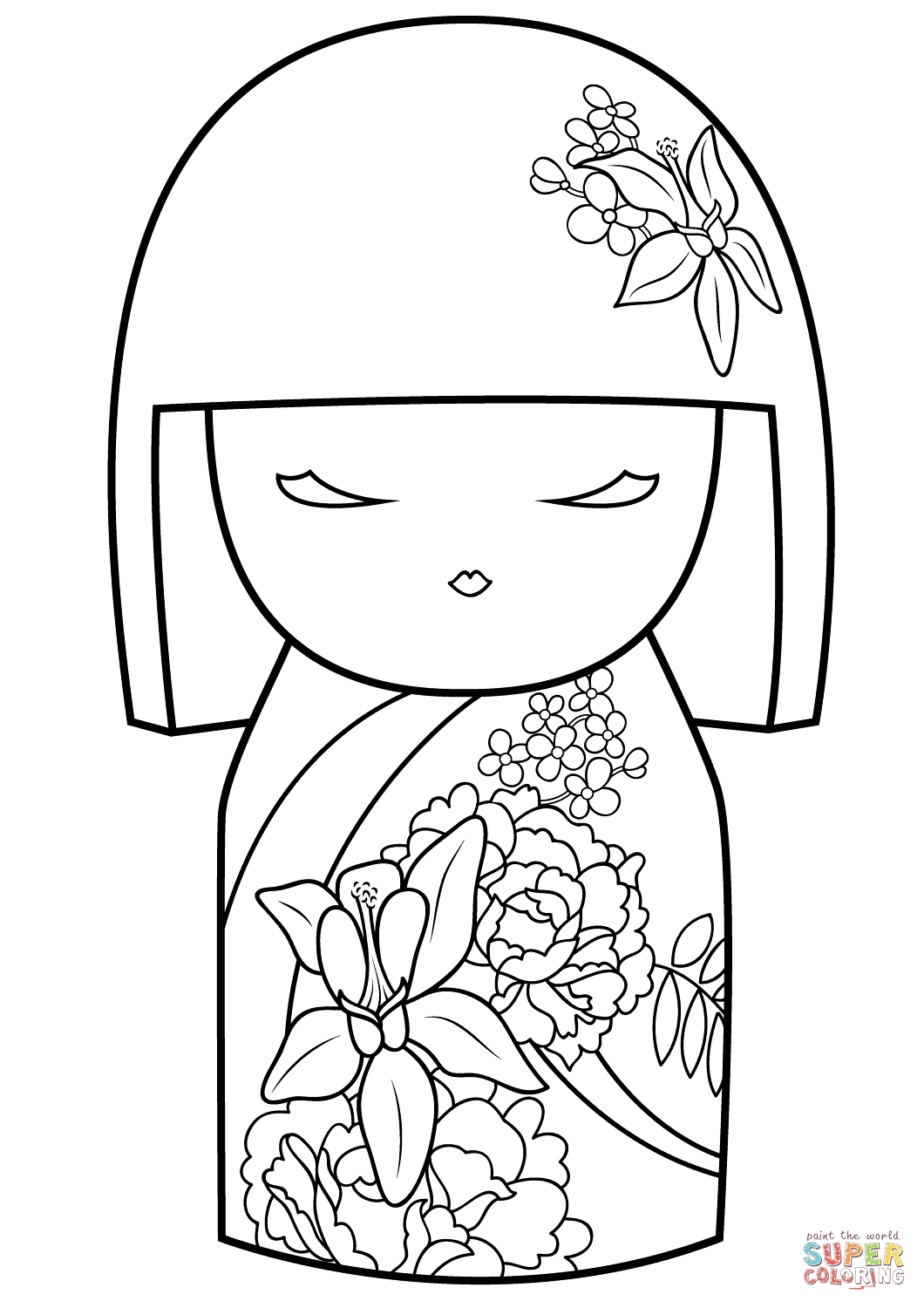 Kimmi Doll With Flower Ornament Coloring Page