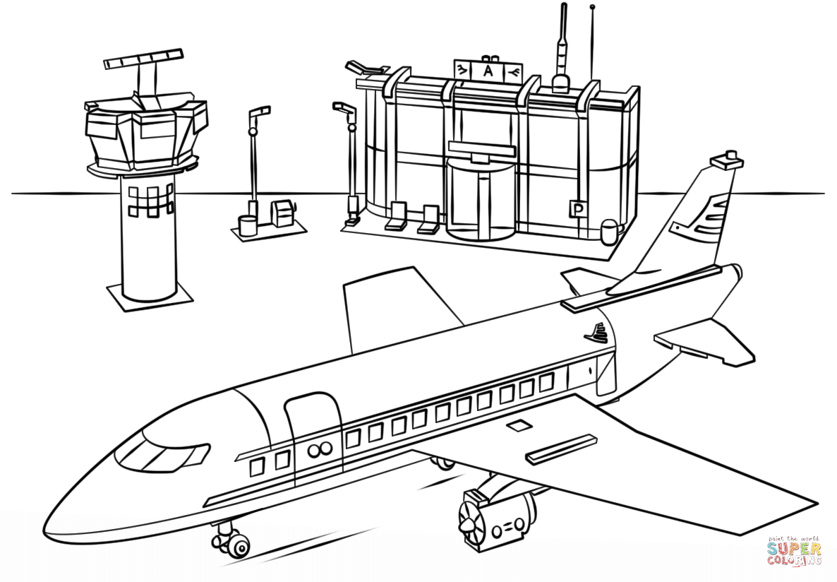 Lego Airport Coloring Page