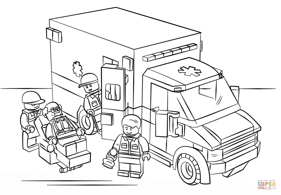 Free Coloring Pages Download Lego Ambulance Page Printable Of