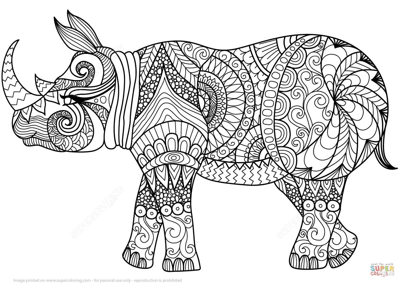 Zentangle Rhino Coloring Page