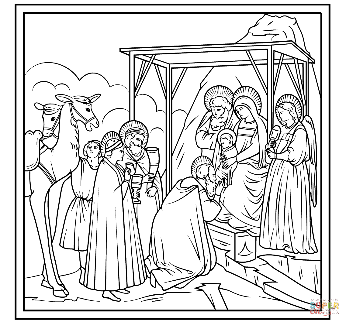 Adoration Of The Magi By Giotto Coloring Page