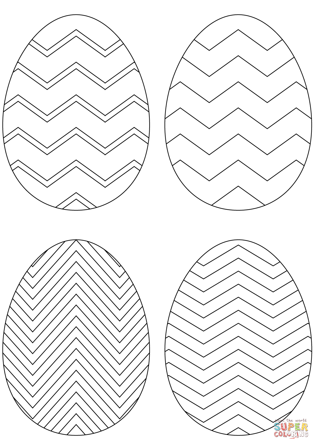 Chevron Easter Eggs Coloring Page