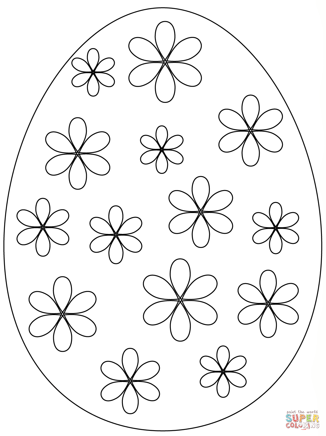 Easter Egg With Flowers Coloring Page
