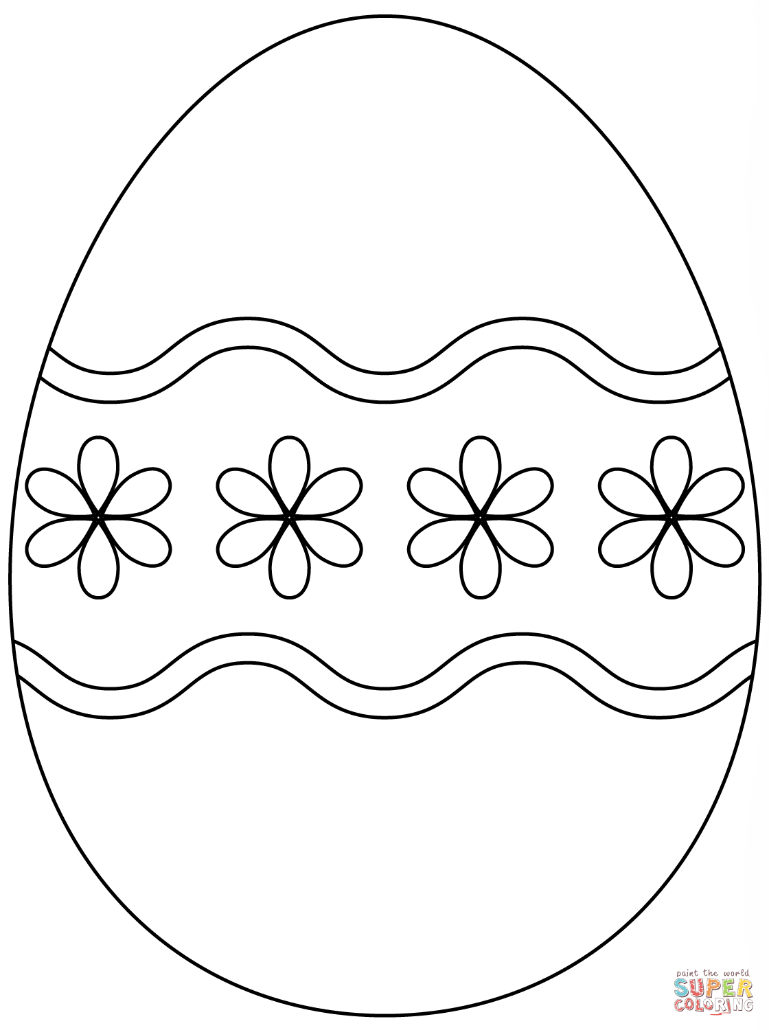 Easter Egg With Simple Flower Pattern Coloring Page